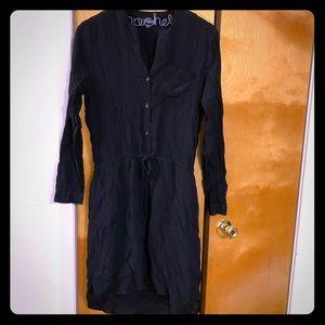 Lucky Brand EUC black buttondown cinch waist dress